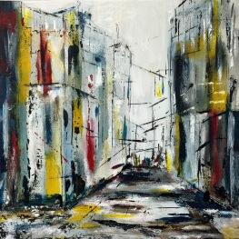 city faces - urban jungle, 2015, mixed media - acrylic on canvas, 50 x 50