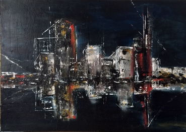 city faces - nighttime reflections, 2015, mixed media -acrylic on canvas, 50 x 70