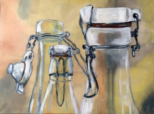 bottles and glasses - Verschlusssache II, acrylic on canvas, 60 x 80