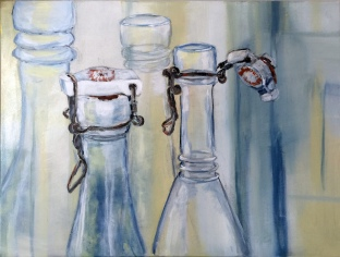 bottles and glasses - Verschlusssache III, acrylic on canvas, 60 x 80