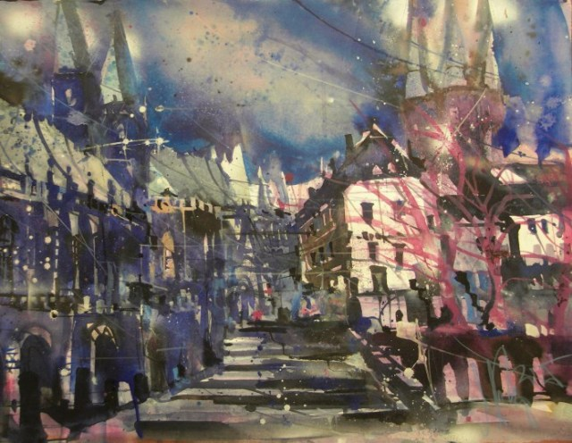 Erfurt, Dom, Watercolor 56/76 cm, Andreas Mattern,2015