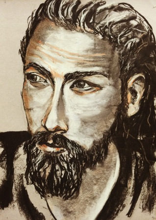 beards and tattoos, 2016, charcoal and chalk on paper, 58x42