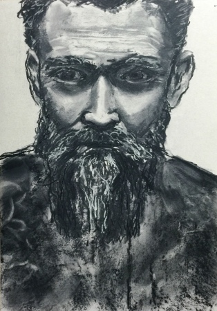 beards and tattoos, 2016, charcoal on paper, 58x42
