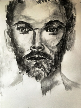 beards and tattoos, 2016, watersoluble graphite on cardboard70x50