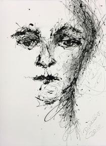 drippainting -portraitstudy I, 2016, varnish on watercolorpaper, 76x56