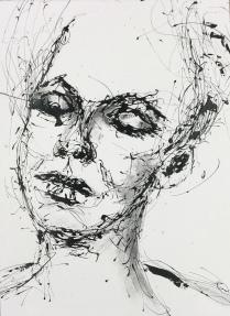 drippainting -portraitstudy III, 2016, varnish on watercolorpaper, 76x56