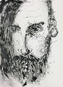 drippainting -portraitstudy II, 2016, varnish on watercolorpaper, 76x56