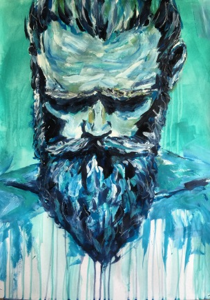 beards and tattoos 2016, acrylic on cardboard, 70x50