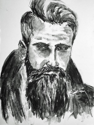 beards and tattoos, 2016, watersoluble graphite on cardboard, 48x36